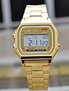 Homens Relógio de Pulso Quartzo Aço Inoxidável Banda Prata Dourada
