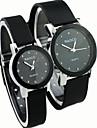 Masculino Mulheres Casal Relógio de Moda Quartzo / Borracha Banda Casual Preta Branco Preto