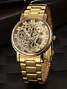 Мужской Наручные часы Кварцевый С гравировкой Нержавеющая сталь Группа Золотистый Золотой