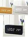 белый свет USB двойной экран прямоугольный деревянный привело часов ж / будильник / температуры / датчика голосовой