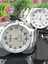 Masculino Mulheres Casal Relógio Elegante Relógio de Moda Quartzo Lega Banda Prata Branco Preto