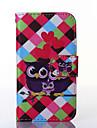 용 삼성 갤럭시 케이스 케이스 커버 카드 홀더 지갑 스탠드 플립 풀 바디 케이스 부엉이 인조 가죽 용 Samsung Trend Lite