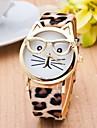 Жен. Модные часы Кварцевый Кошка PU Группа Мультфильмы Леопард Черный Белый Синий Коричневый Розовый Разноцветный Бежевый Роуз