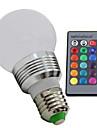 3W E26/E27 Lâmpada Redonda LED 1 LED de Alta Potência 100—130LM(lm) lm RGB Regulável / Controle Remoto AC 85-265 V 1 pç