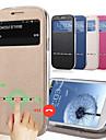de moda popular contratada janela vista estojo de couro flip-quente para Samsung Galaxy i9500 S4 inteligente deslizante resposta com