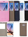 For Samsung Galaxy Case with Stand / with Windows Case Full Body Case Solid Color PU Leather Samsung S6 edge plus