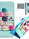 COCO FUN® Colorful Macarons Pattern PU Leather Case with Screen Protector and USB Cable and Stylus for iPhone 6/6S