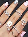 Кольца на вторую фалангу Стразы Имитация Алмазный Сплав В форме цветка В форме листа Мода Золотой Серебряный Бижутерия Для вечеринок1