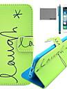 Coco fun® Inglês padrão de capa de couro pu verde com protetor de tela e cabo USB e caneta para iphone 6 / 6s