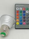 3W E26/E27 LED 스팟 조명 1 고성능 LED 130 lm RGB 리모컨 작동 AC 85-265 V 1개