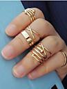 Feminino Conjunto de Jóias Anéis Meio Dedo Moda Chapeado Dourado Liga Jóias Para Casamento Festa Diário Casual