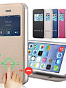 Solid Color PU Leather + Tpu Smart Sliding Answer View Window Flip Full Body Case for iPhone 4/4S With Kickstand