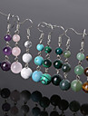 Beadia 1 Pair Fashion Drop Earrings 6/8/10mm Natural Stone Dangle Earrings For Women