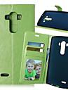 Para Capinha LG Porta-Cartão / Carteira / Com Suporte / Flip Capinha Corpo Inteiro Capinha Cor Única Rígida Couro PU LG