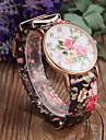 Women's Fashion Flower Pattern PU Band Quartz Watch Cool Watches Unique Watches
