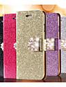 brilho de diamantes telefone celular couro caso slot para cartão de carteira de volta Cases para iPhone 6 mais (cores sortidas)