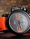 남성 스포츠 시계 손목 시계 석영 방수 실리콘 밴드 블랙 오렌지 옐로우 레드 블루