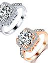 Кольца для пар Кристалл Хрусталь Сплав Любовь Мода Серебряный Золотой Бижутерия Свадьба Для вечеринок Повседневные 1шт