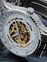 SHENHUA 남성 손목 시계 기계식 시계 중공 판화 오토메틱 셀프-윈딩 스테인레스 스틸 밴드 럭셔리 실버