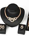 Jewelry Set,Women's Alloy Golden Crystal Earrings, Necklaces, Bracelets & Bangles, Rings,5Pcs/set