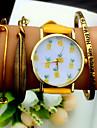 Мужской Женские Унисекс Модные часы Часы-браслет Секундомер Кварцевый PU Группа Черный Белый Коричневый Зеленый Желтый