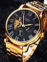 남성용 손목 시계 기계식 시계 오토메틱 셀프-윈딩 방수 중공 판화 스테인레스 스틸 밴드 럭셔리 골드