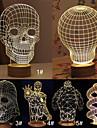 Modèle de bande dessinée de crâne 3d atmosphère créative humeur USB LED lampe de table décoration lumière de nuit blanc chaud