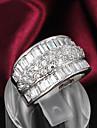 Anéis Casamento / Pesta / Diário / Casual Jóias Prata de Lei / Zircão / Prata Chapeada Feminino Anéis Grossos 1pç,6 / 7 / 8 Prateado