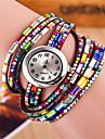 Mulheres Relógio de Moda Bracele Relógio Quartzo Colorido Couro Banda Brilhante Boêmio Preta Branco Vermelho Branco Preto Café Vermelho