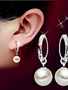 Women's Drop Earrings Pearl Basic Birthstones Fashion Simple Style Silver Pearl Sterling Silver Ball Jewelry ForWedding Party Birthday