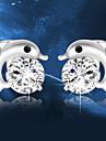 Lureme®  Korean Fashion 925  Sterling Silver Crystal  Dolphin Earrings