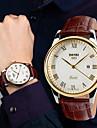 SKMEI Мужской Наручные часы Защита от влаги Кварцевый Кожа Группа Черный Коричневый