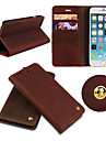 For iPhone 6 Case / iPhone 6 Plus Case Card Holder / Wallet / with Stand / Flip Case Full Body Case Solid Color Hard Genuine Leather