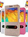 fenêtres à double soie modèle en cuir de cas de tout le corps avec fente pour carte pour Samsung Galaxy Note 3 (couleurs assorties)