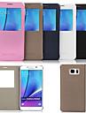 Para Samsung Galaxy Note Com Suporte / com Visor Capinha Corpo Inteiro Capinha Cor Única Couro PU Samsung Note 5