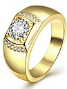 Hot ale Yellow Gold Finih 925 terling ilver Ring For Men With 6X8Mm Oval Cubic Zirconia  Jewelry Christmas Gifts