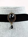 Женский Ожерелья-бархатки Готический ювелирные изделия Татуировка Choker Сапфир Драгоценный камень Естественный черныйДрагоценный камень