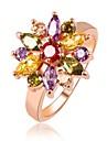 Hot Sale Unique Fashion Multicolor 18K Rose Gold Plated AAA Zircon Engagement/Weddding bijoux Rings Fine JewelryImitation Diamond Birthstone