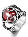 Массивные кольца Нержавеющая сталь Циркон Цирконий В форме черепа Бижутерия Уникальный дизайн Мода Красный Бижутерия Новогодние подарки