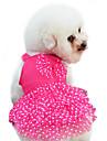 Собака Платья Одежда для собак Мода Горох Бант Желтый Красный Синий Розовый