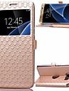 Pour Samsung Galaxy S7 Edge Porte Carte Avec Support Avec Ouverture Clapet Coque Coque Intégrale Coque Forme Géométrique Cuir PU pour