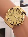 Homens Relógio de Pulso Quartzo Aço Inoxidável Banda Dourada