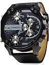Мужской Армейские часы Наручные часы С двумя часовыми поясами С тремя часовыми поясами Кварцевый Кожа Группа Люкс Черный