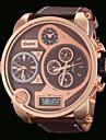 Oulm Masculino Relógio Militar Relógio de Pulso Quartzo Quartzo Japonês LCD Calendário Dois Fusos Horários Três Fusos Horários PU Banda