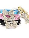 Cat / Dog Collar Adjustable/Retractable / Rhinestone Bowknot Black / Blue / Pink / Gold PU Leather