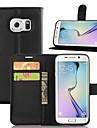 Pour Samsung Galaxy Coque Porte Carte Avec Support Clapet Magnétique Coque Coque Intégrale Coque Couleur Pleine Cuir PU pour Samsung