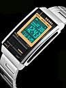 남성 아가씨들 스포츠 시계 손목 시계 석영 일본 쿼츠 LCD 달력 크로노그래프 방수 경보 스테인레스 스틸 밴드 실버 상표 SKMEI