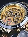 WINNER Hommes Montre Squelette Montre Bracelet Montre mécanique Etanche Gravure ajourée Tachymeter Lumineux Remontage automatiqueAcier