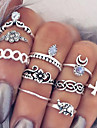 Statement Rings Midi Rings Knuckle Ring Bohemian European Fashion Vintage Personalized Gemstone Alloy Flower Cross Teardrop MoonSilver