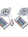 3W Потолочный светильник / Осветительная панель Утапливаемое крепление 1 Integrate LED 200-250 lm RGB На пульте управления / Декоративная